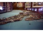 A general view of the huge Southampton Docks model originally built for the 1939 New York World's Fair and subsequently restored for exhibition. The three funnelled white liner is RMS Empress of Britain, Britain's biggest shipping loss in WW2.